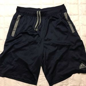 Black with gray stripe pocketed shorts